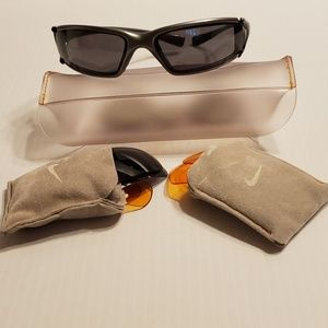 Nike wrap sunglasses with 3 pairs of extra lenses